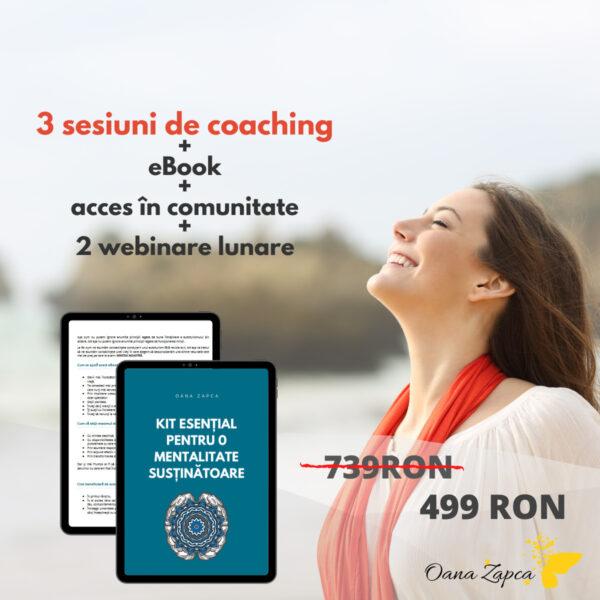 Pachet coaching și eBook Mentalitate sustinătoare